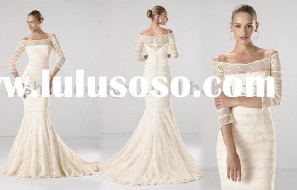 VH521 with long sleeve embroidered lace wrap mermaid wedding dress