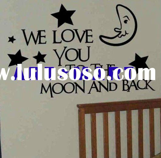 Wall Quote Decal We Love You to the Moon- Vinyl Lettering Text Wall Words Decals Stickers Art Graphi