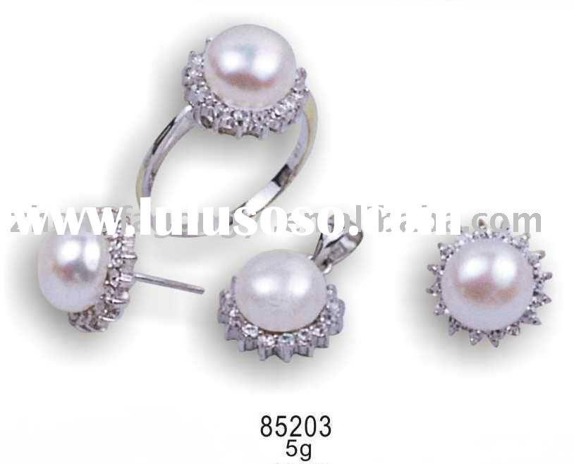 Wedding Jewelry,925 Sterling Silver Jewelry Pearl Set with Zircon
