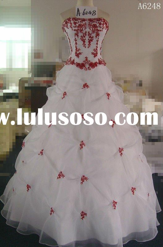 (A6248) Guangzhou Stephanie 2012 Hot-Sale Red and White Wedding Dresses