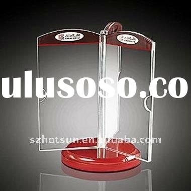 acrylic menu stand with three sided