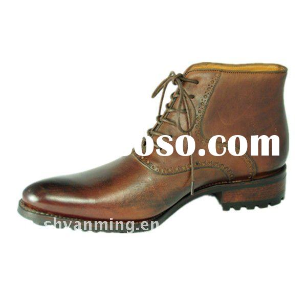 hande made Goodyear classic men brown leather boots