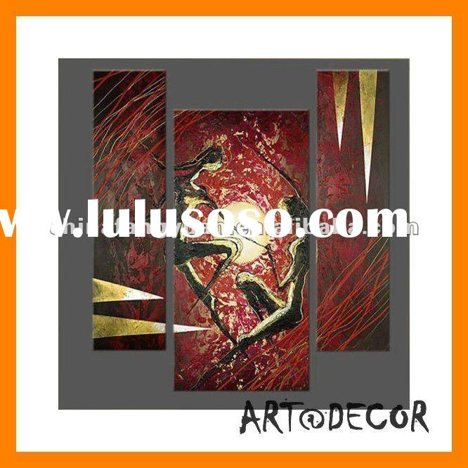 high quality best price handpainted portrait 3 panel abstract oil painting for home decoration