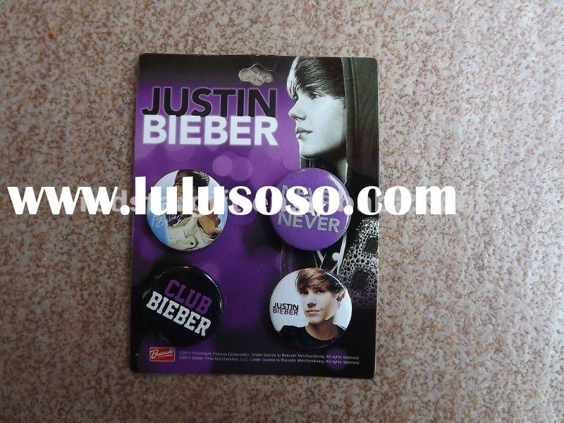 justin bieber tin badge with card package/button badges/promotional gifts/badges