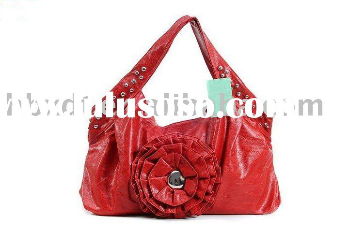 leather women tote handbags with big flower brand name bags