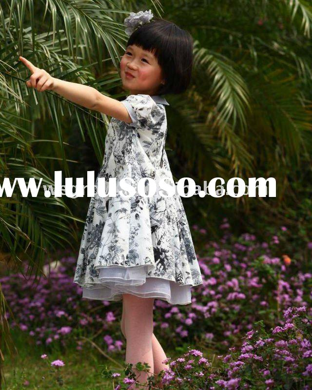 lovely Chinese painting grey& white floral dress,new design 2012,European material,child clothin