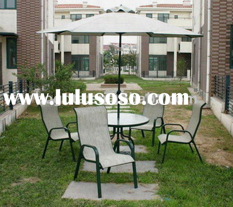 patio garden sling armrest chair and round table with tilt functions umbrella
