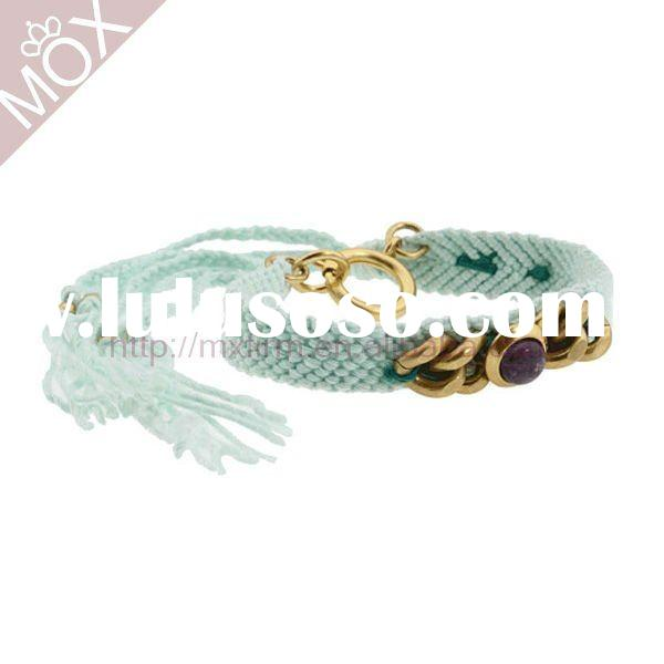 presonalized baby blue cotton thread crochet braided leather bracelet with chain charm