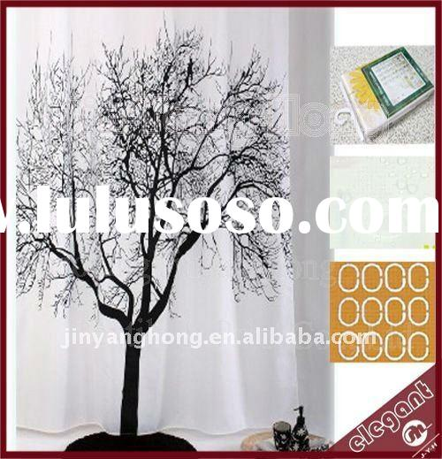 tree pattern polyester shower curtain