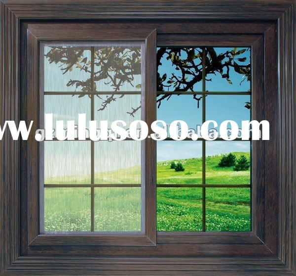 wood colour office sliding glass window grill design