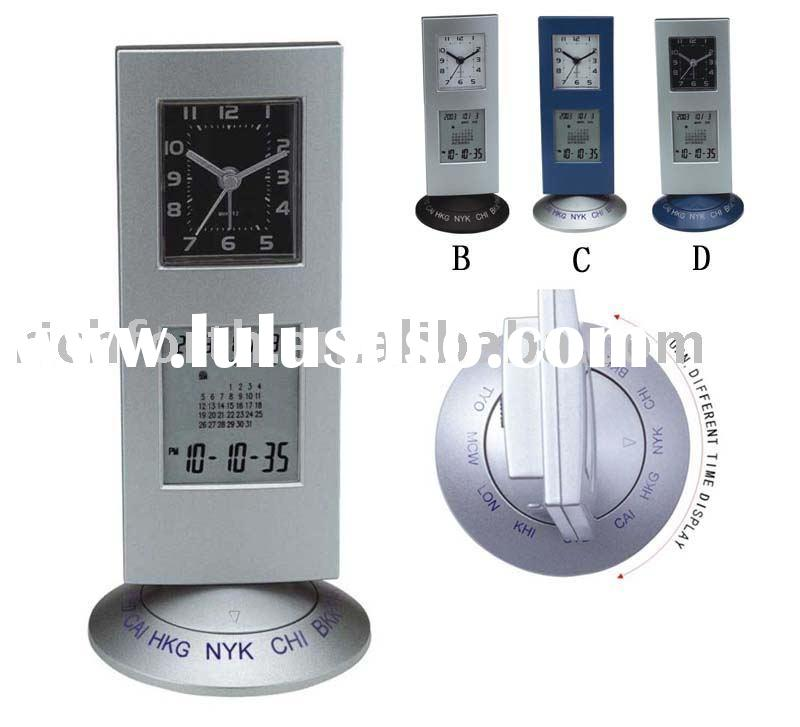 world time clock, clock,quartz clock,novelty desk clock,promotional clock,alarm clock,calendar clock