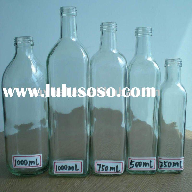 125ml-750ml round glass Olive oil bottle with top screw