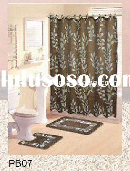 "15 PC ""Leaves"" 15pcs Shower Curtain with Bath Rug Sets"