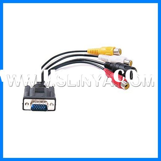 15 Pin VGA to S-Video RCA Cable Adapter