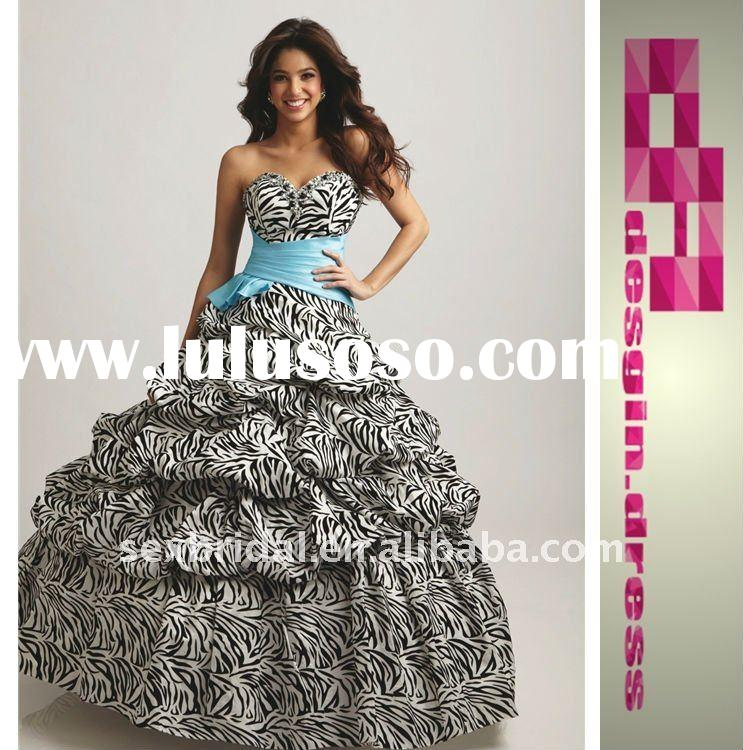 2011 Ball gown Sweetheart Quinceanera Zebra Dresses with sash