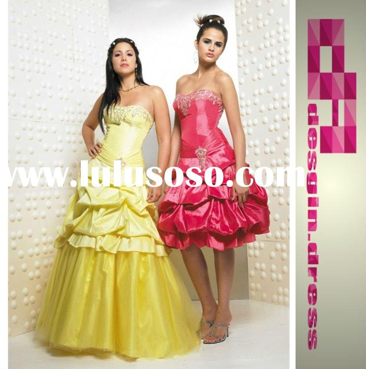 2011 Light yellow floor length or short Quinceanera Prom Dresses