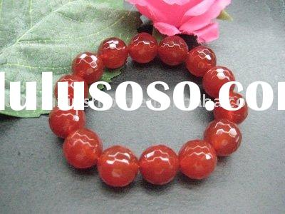 2012 Natural semi precious Faceted Round beaded red agate bracelet jewelry