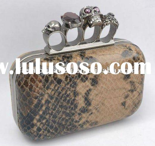 2012 New! skull evening bag snake skin hard case clutch bag professional manufacturer directly good