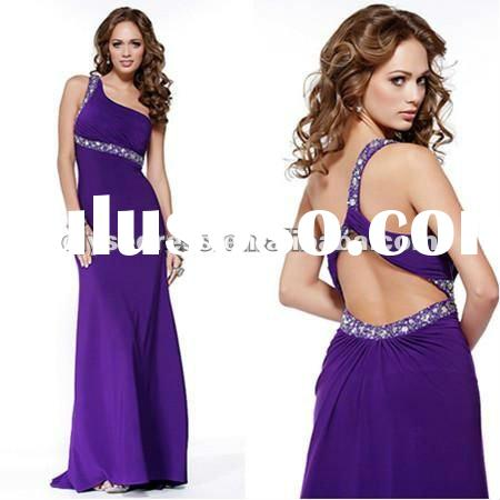 2012 Open Back Sequin Embellished Ruched Purple Bust Long One Shoulder Formal Prom Dress