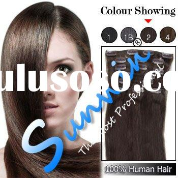 24 Inches 8pcs Clip-in Human Hair Extensions Straight (#2 Darkest Brown)
