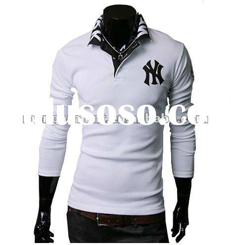 2 color long sleeve with embroidery men's t shirt