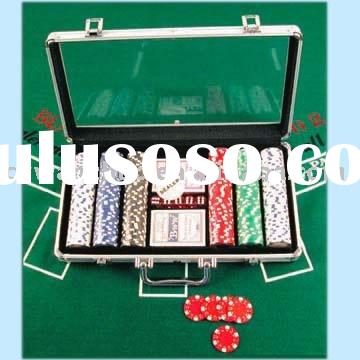 300PCS 11.5G PS ABS INSERT MATAL THICKNESS3.3MM DIAMETER 40MM DICE POKER CHIP SET IN 1DELUXE TRANSPA