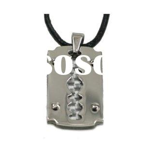 316L Stainless Steel Pendant with white carbon fiber pendant