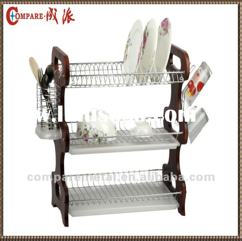 3 layer Wooden dish rack with tray,cutlery basket and cup holder