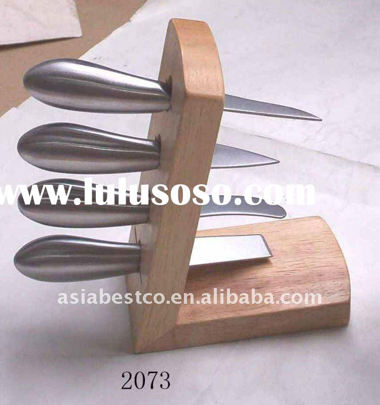 4pcs stainless steel cheese knife with wooden holder