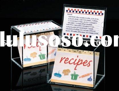 Acrylic Recipe Box,Plexiglass Cookbook Box,Lucite Recipe Holder