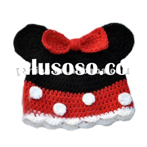 Adorable Black w red bow/polka dot Handmade Crochet Hats/Baby Hat/Hats and Caps for Kids