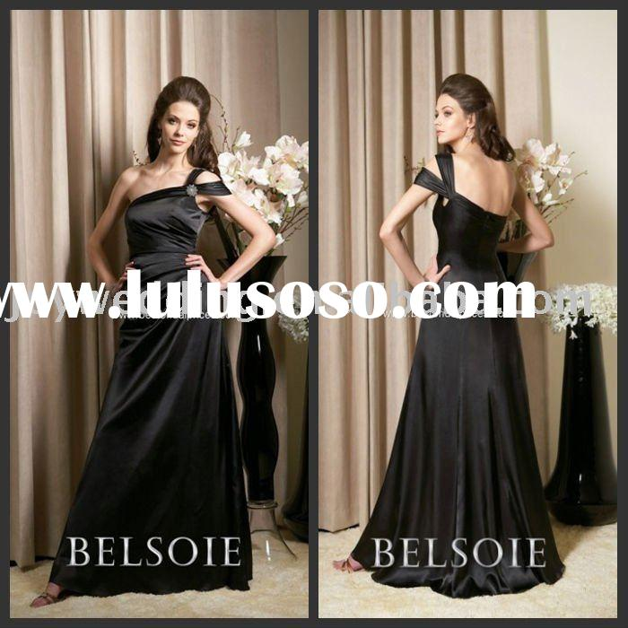 BD0464 FREE shipping BELSOIE long one shoulder chiffon bestbridalprice evening bridesmaid prom dress