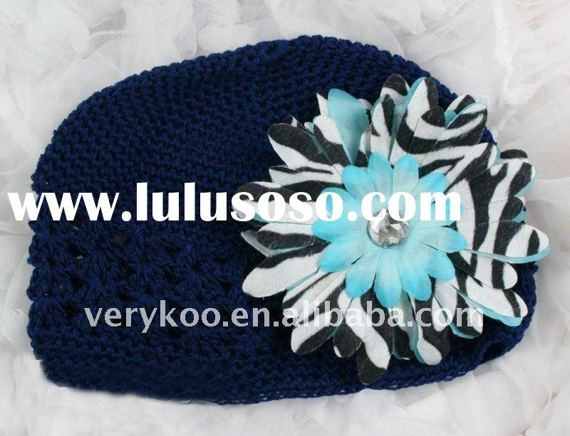 Baby Crochet Kufi Hats with a Zebra Daisy Flower (FCK-103470380-K)