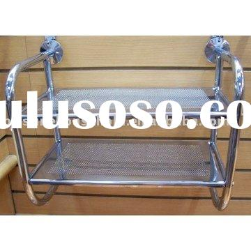 Bathroom Furniture - 2 Tier Metal Shelf Towel Wall Rack