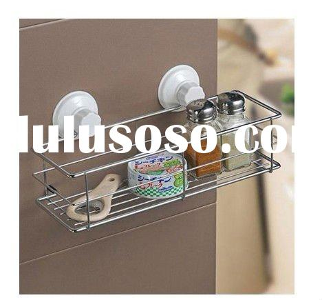 Bathroom Kitchen Stainless Steel Suction Storage Shelf Rack