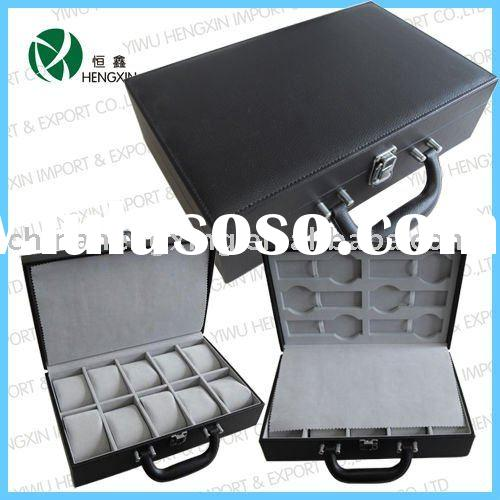 Black Leather watch case / box watch display case pu watch case