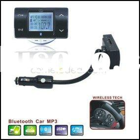 Car MP3 Player Bluetooth Handsfree - FM Transmitter with Steering Wheel Remote Control - Support SD