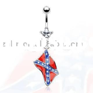 Confederate Rebel Flag Belly Navel Ring 14G,navel jewelry,body jewelry