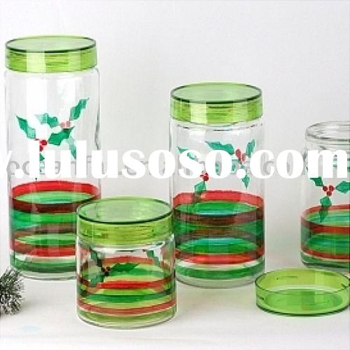 Decorated high clear glass kitchenware with plastic lid