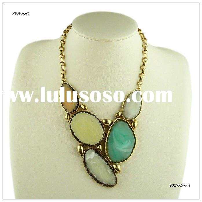 Fashion Alloy Artificial Jewelry, Resin Decorated &Gold-plated Alloy Women Necklace