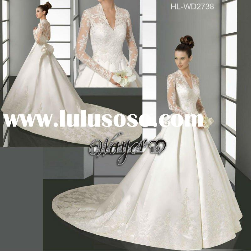 Formal Classic A-line Lace Appliqued Thick Satin Chapel Train Long Sleeve Wedding Dress HL-WD2738