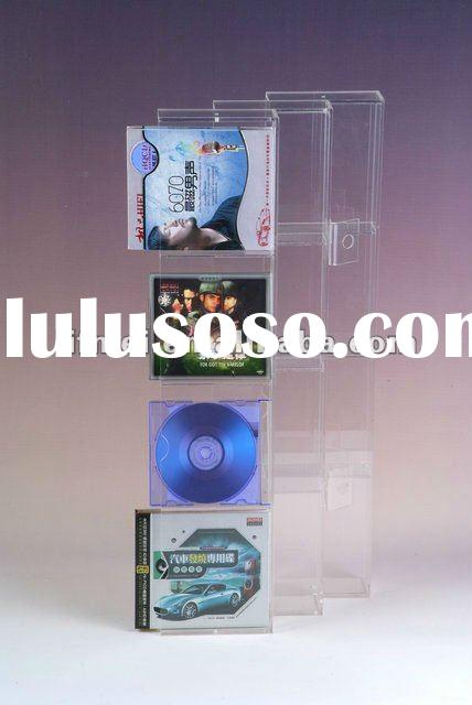 Free standing clear acrylic CD/DVD display rack