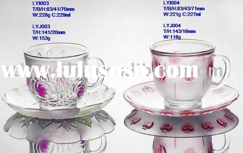 Glassware kitchenware tableware glass set cups and saucer