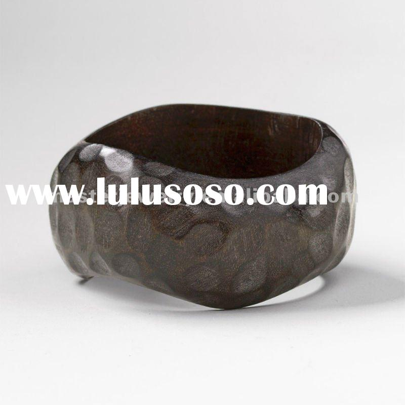 Hammered wood bangle bracelet