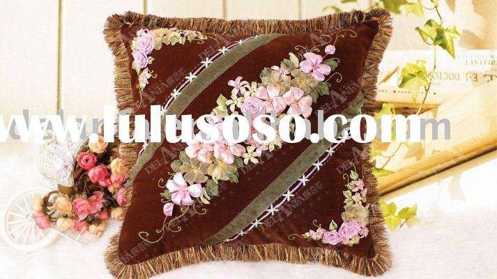 Handmade cushion cover ribbon embroidery