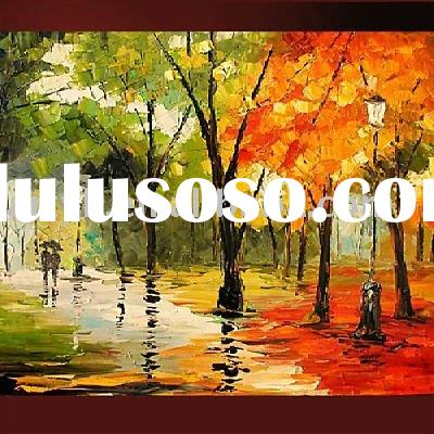 Handmade landscape painting trees for wall decor
