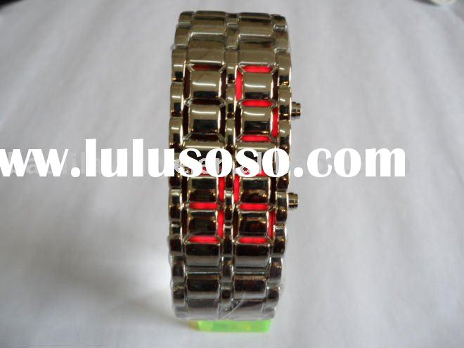 Hot Lava Samurai Style Stainless Steel Red LED Digital Watch