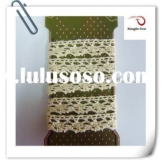 Hot wholesale crochet cotton fabric wide trim lace and ribbon