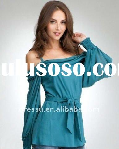 Ladies Fashion Blouse 2012, Off the Shoulder Long Sleeve Blouse