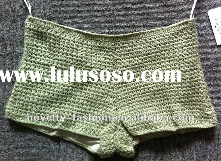 Ladies fashion crocheted short pants with 100%cotton lining